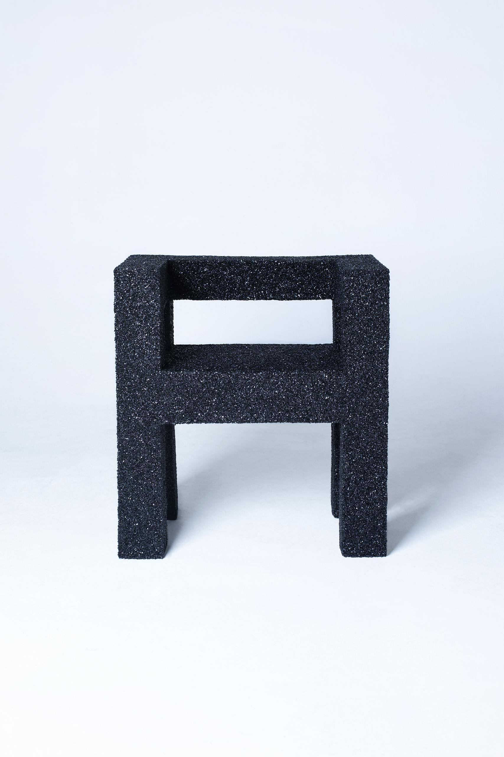 01 Aufgabe Null, Germany. One - armchair, 2020, L 40 x W 65 x H 60 cm, EPDM-wood-foam, unique piece. Image © Theresa Lou